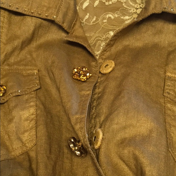 20070455816a Berek Jackets & Coats | Gold Linen Lined Jacket Rhinestoned Buttons ...